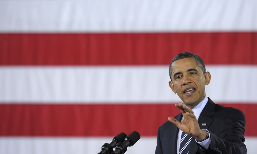 President Obama talks Feb. 3, 2012, about the economy during an event at Fire Station #5 in Arlington, Va. (Associated Press)