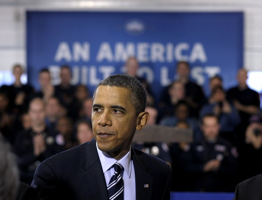 **FILE** President Obama leaves Feb. 3, 2012, after speaking about the economy during an event at Fire Station #5 in Arlington, Va. Fire Station No. 5 was one of the first stations to respond to the 9/11 attack at the Pentagon. (Associated Press)