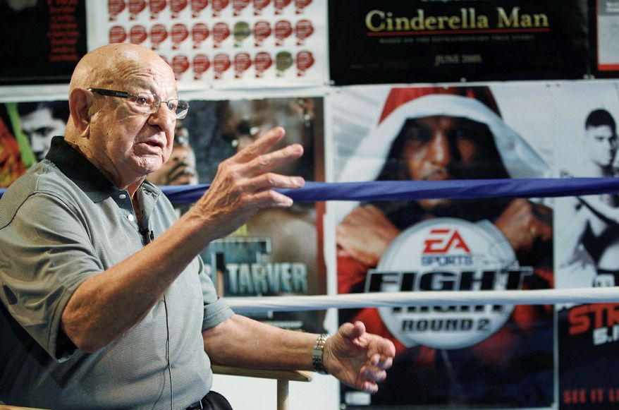 Trainer Angelo Dundee, shown in 2010, helped mold Muhammad Ali and Sugar Ray Leonard into world champions. He died Feb. 1 at age 90 in Hollywood, Fla. (Associated Press)