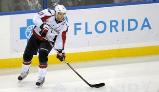 Washington Capitals center Brooks Laich controls the puck against the Tampa Bay Lightning during the third period of the Lightning's 4-3 home win on Jan. 31, 2012. (Associated Press)