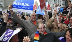 ** FILE ** Supporters of gay marriage celebrate outside the James R. Browning United States Courthouse in San Francisco on Tuesday, Feb. 7, 2012, after a federal appeals court declared California's ban on same-sex marriage unconstitutional. (AP Photo/San Francisco Chronicle, Lea Suzuki)