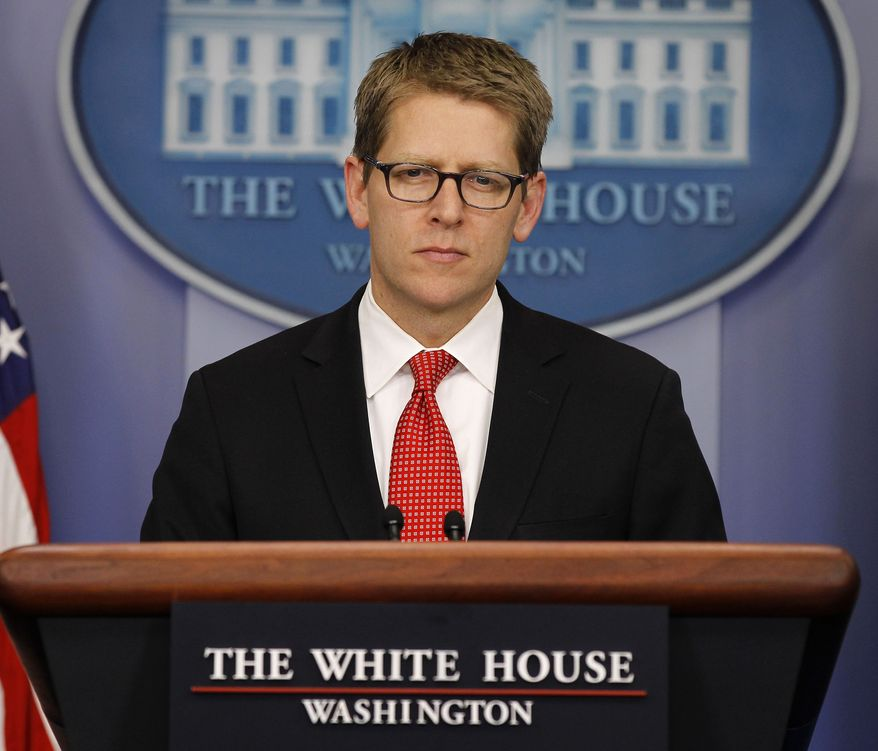 White House press secretary Jay Carney listens Feb. 7, 2012, during his daily news briefing at the White House. (Associated Press)