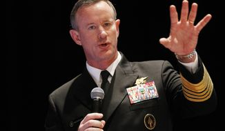 Navy Adm. Bill McRaven, commander of the U.S. Special Operations Command, addresses the National Defense Industrial Association (NDIA) in Washington on Tuesday, Feb. 7, 2012. (AP Photo/Charles Dharapak)