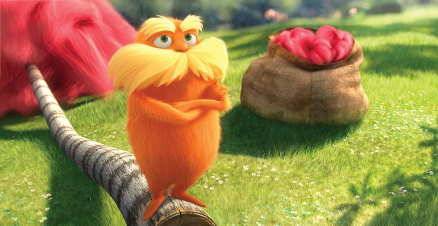 """The character known as The Lorax, voiced by Danny DeVito, is shown in a scene from the animated film, """"Dr. Seuss' The Lorax."""" Universal Pictures has lined up eco-friendly partners that want to latch onto the Lorax's nature-friendly message. (Universal Pictures via Associated Press)"""
