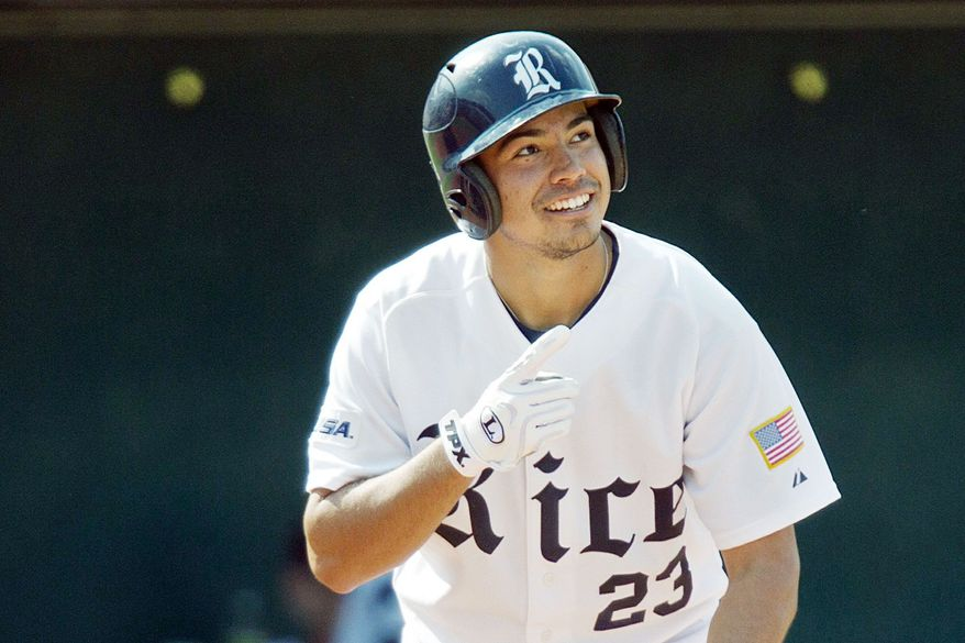 FILE - In this May 28, 2010 file photo, Rice University's Anthony Rendon smiles as he steps up to bat during the fifth inning against Marshall in the Conference USA Championship baseball tournament at Cougar Field in Houston. (AP Photo/Houston Chronicle, Smiley N. Pool, File)