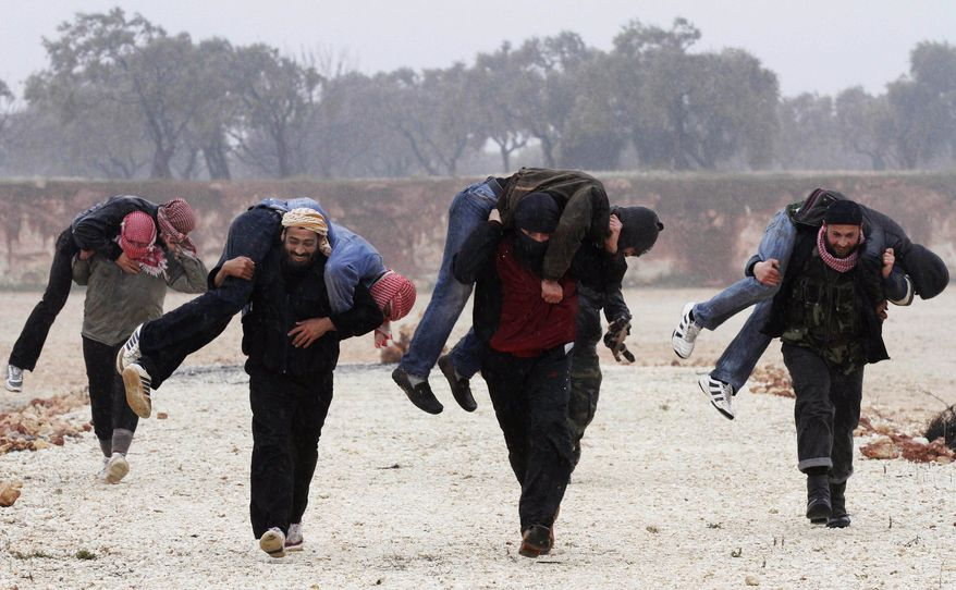 Members of the Free Syrian Army train Feb. 7, 2012, outside Idlib, Syria. (Associated Press)