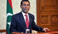 ** FILE ** Maldives President Mohamed Nasheed announces his resignation in a nationally televised address on Tuesday afternoon, Feb. 7, 2012, in Male, Maldives. (AP Photo/Maldives President's Office)