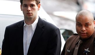 George W. Huguely V arrives Feb. 8, 2012, at court in Charlottesville for the start of his trial. Mr. Huguely is charged with the murder of fellow University of Virginia senior Yeardley Love. (Associated Press)