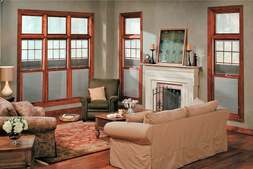 Courtesy of pella For homeowners who may be replacing their windows, one option offered by Case Design/Remodeling are these double-paned Pella windows that feature blinds or shades installed between the two panes of glass.