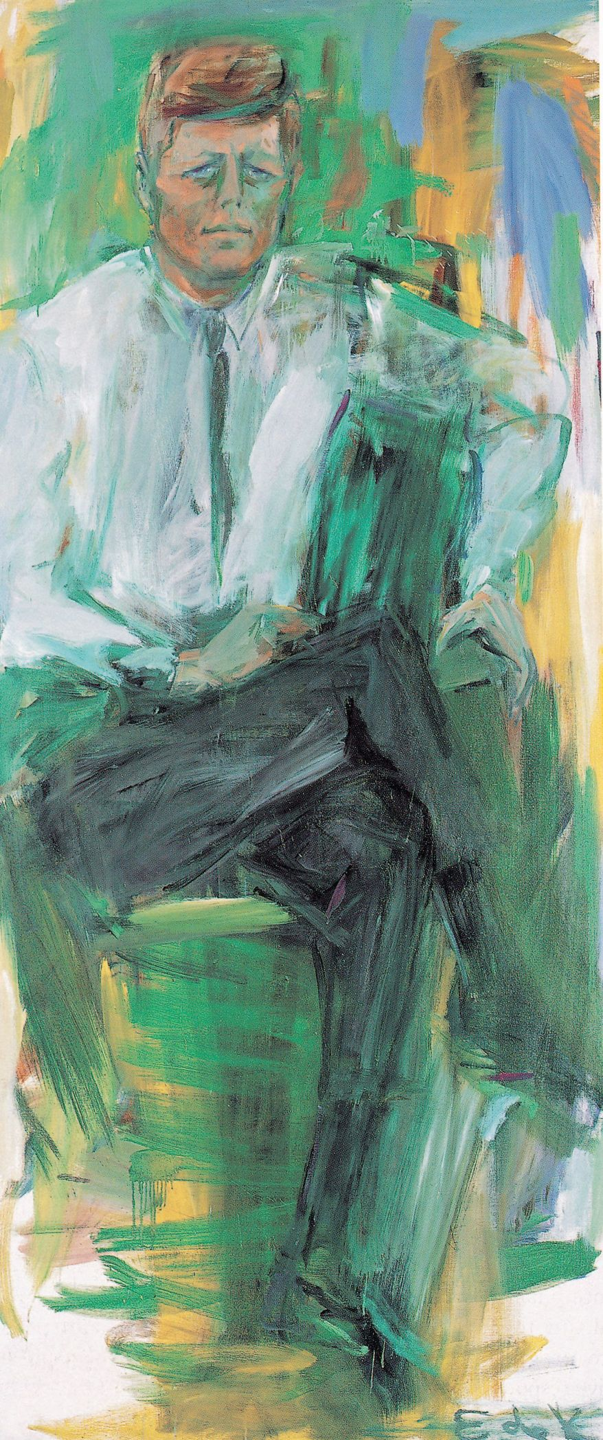 John F. Kennedy's radically altered appearance during the president's seven sittings posed a challenge to portrait painter Elaine de Kooning, who created 23 versions but was most pleased with an abstract expressionist work that captured his kinetic energy. (Photograph provided by the National Portrait Gallery)
