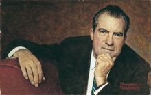 """Norman Rockwell said President Nixon was """"the hardest man I ever painted,"""" and opted to make him look good. (Photograph provided by the National Portrait Gallery)"""