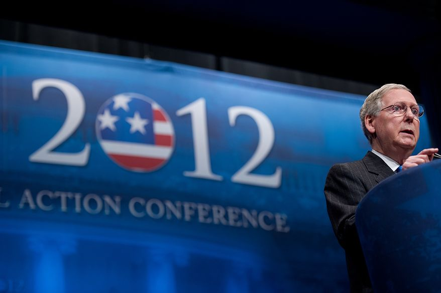 Sen. Majority Leader Mitch McConnell (R-Ky.) speaks at the Conservative Political Action Conference (CPAC) held at the Marriott Wardman Park, Washington, DC, Thursday, February 9, 2012. The annual political conference draws thousands of supporters and prominent conservative figures. (Andrew Harnik / The Washington Times)