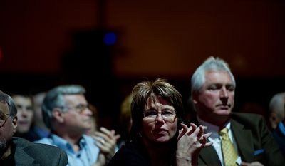 Carol Crosby of Ukiah, CA listens as Sen. Majority Leader Mitch McConnell (R-Ky.) speaks at the Conservative Political Action Conference (CPAC) held at the Marriott Wardman Park, Washington, DC, Thursday, February 9, 2012. The annual political conference draws thousands of supporters and prominent conservative figures. (Andrew Harnik / The Washington Times)