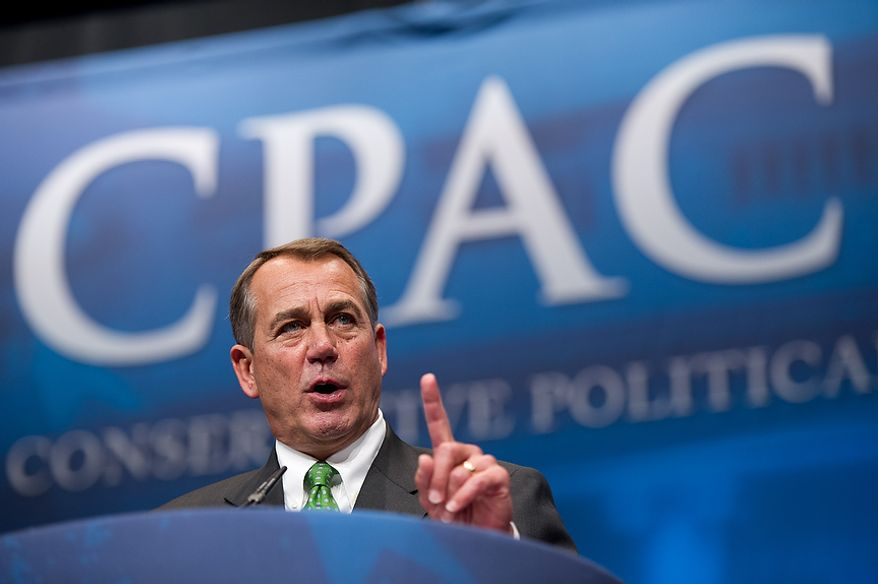 Speaker John Boehner (R-Ohio) speaks at the Conservative Political Action Conference (CPAC) held at the Marriott Wardman Park, Washington, DC, Thursday, February 9, 2012. The annual political conference draws thousands of supporters and prominent conservative figures. (Andrew Harnik / The Washington Times)