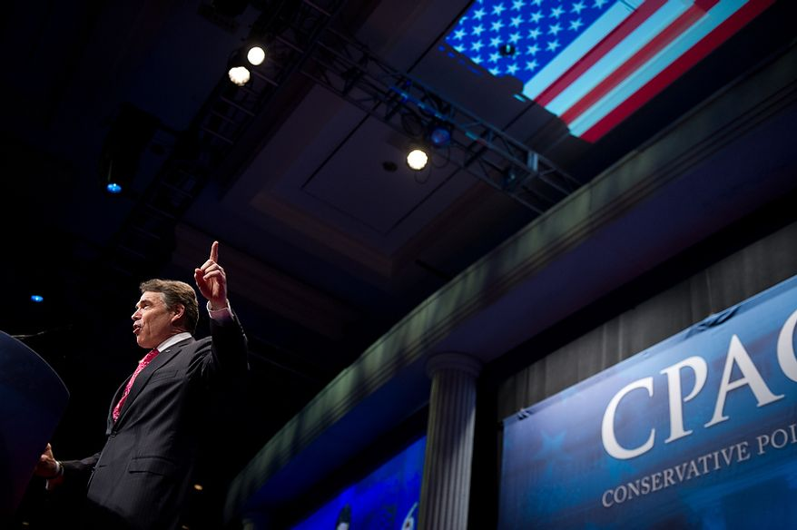 Former Presidential Candidate Rick Perry speaks at the Conservative Political Action Conference (CPAC) held at the Marriott Wardman Park, Washington, DC, Thursday, February 9, 2012. The annual political conference draws thousands of supporters and prominent conservative figures. (Andrew Harnik / The Washington Times)