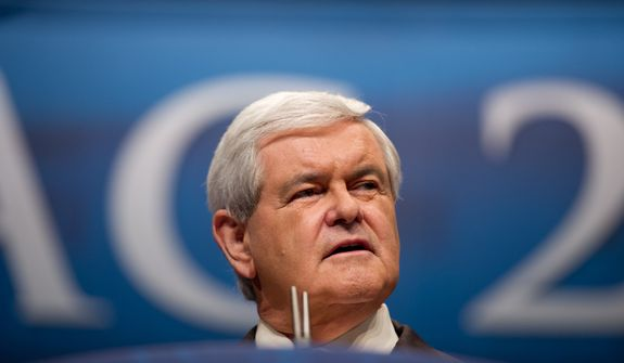 Republican Presidential Candidate and former Speaker of the House Newt Gingrich speaks at the Conservative Political Action Conference (CPAC) held at the Marriott Wardman Park, Washington, D.C., Friday, February 10, 2012. The annual political conference draws thousands of supporters and prominent conservative figures. (Andrew Harnik/The Washington Times)