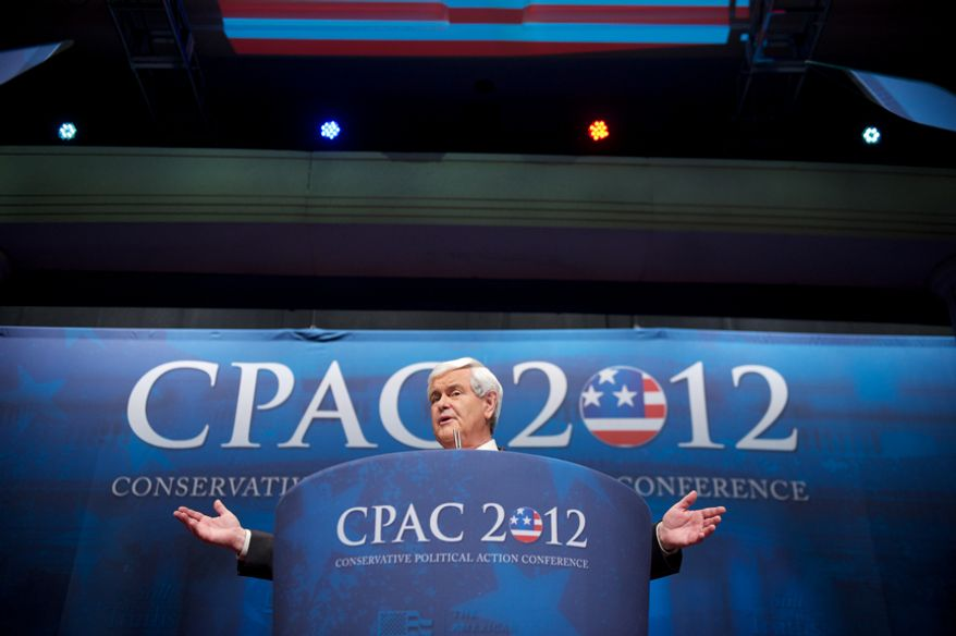 Republican Presidential Candidate Newt Gingrich speaks at the Conservative Political Action Conference (CPAC) held at the Marriott Wardman Park, Washington, D.C., Friday, Feb. 10, 2012. The annual political conference draws thousands of supporters and prominent conservative figures. (Andrew Harnik/The Washington Times)