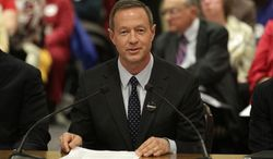 Maryland Gov. Martin O'Malley testifies in support of a same-sex marriage bill during a committee hearing in Annapolis on Friday, Feb. 10, 2012. (AP Photo/Patrick Semansky)