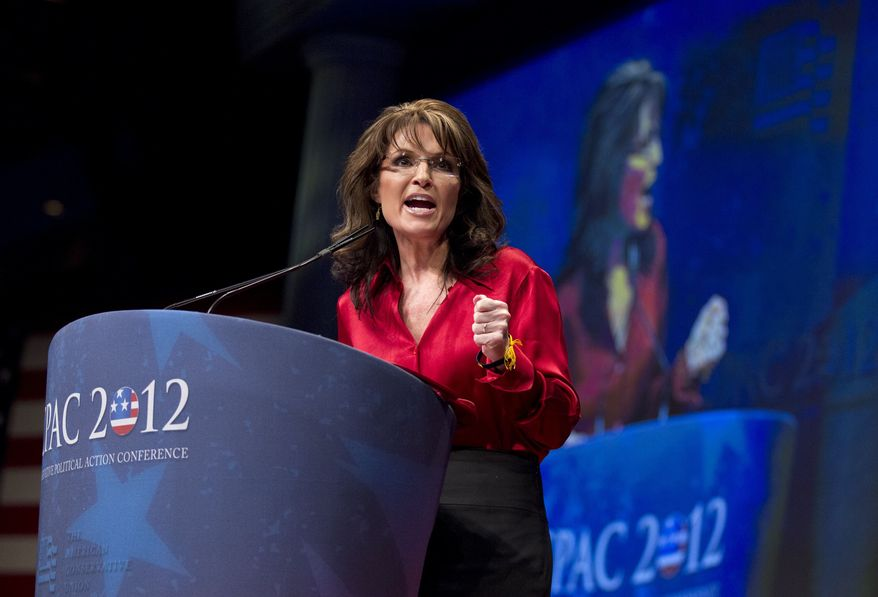 Sarah Palin, the GOP candidate for vice-president in 2008, and former Alaska governor, delivers the keynote address to activists from America's political right at the Conservative Political Action Conference (CPAC) in Washington, Saturday, Feb. 11, 2012. (AP Photo/J. Scott Applewhite)