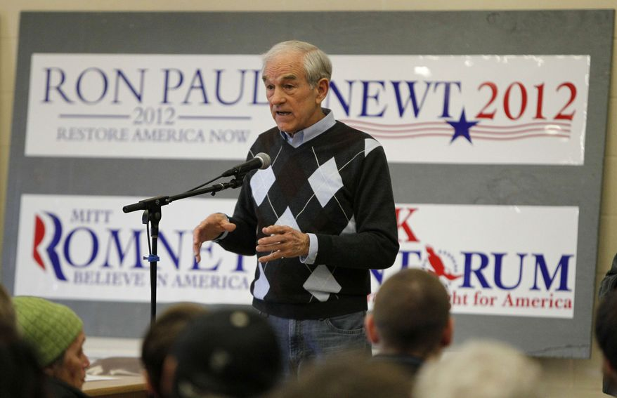 Republican presidential candidate, Rep. Ron Paul, R-Texas, speaks at a caucus, Saturday, Feb. 11, 2012, in New Gloucester, Maine. (AP Photo/Robert F. Bukaty)