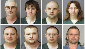 From top left, David Brian Stone Sr., 44, of Clayton, Mich.; David Brian Stone Jr. of Adrian, Mich.; Jacob Ward, 33, of Huron, Ohio; Tina Mae Stone; and bottom row from left, Michael David Meeks, 40, of Manchester, Mich.; Kristopher T. Sickles, 27, of Sandusky, Ohio; Joshua John Clough, 28, of Blissfield, Mich.; and Thomas William Piatek, 46, of Whiting, Ind., are suspects tied to Hutaree, a Christian militia. The trial is expected to last weeks. It involves seven of the nine people charged with belonging to Hutaree. The government says they conspired to try to kill a police officer and plotted further strikes. No one was ever attacked, and the defendants say they're being prosecuted for saying stupid things. (Associated Press)