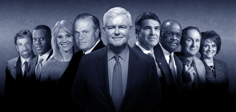 "Newt Gingrich's newly minted campaign ""Dream Team"" includes familiar faces. From left to right: Chuck Norris, JC Watts, Kellyanne Conway, Fred Thompson, Mr. Gingrich, Rick Perry, Herman Cain, M"