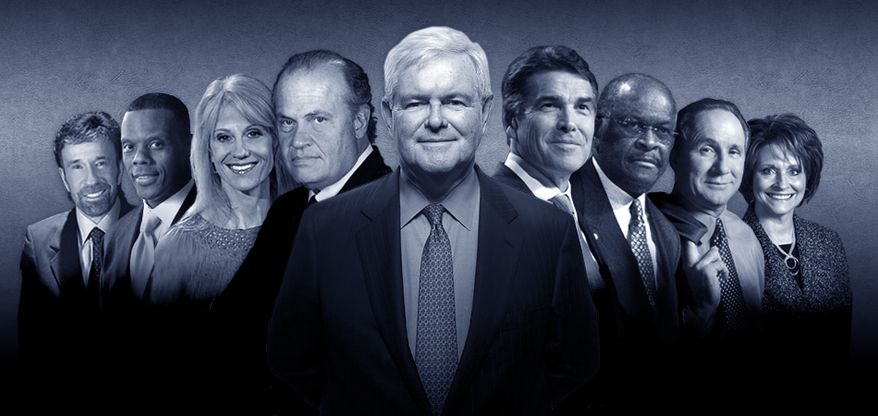 """Newt Gingrich's newly minted campaign """"Dream Team"""" includes familiar faces. From left to right: Chuck Norris, JC Watts, Kellyanne Conway, Fred Thompson, Mr. Gingrich, Rick Perry, Herman Cain, Michael Reagan and Linda Upmeyer. (image from Newt 2012)"""
