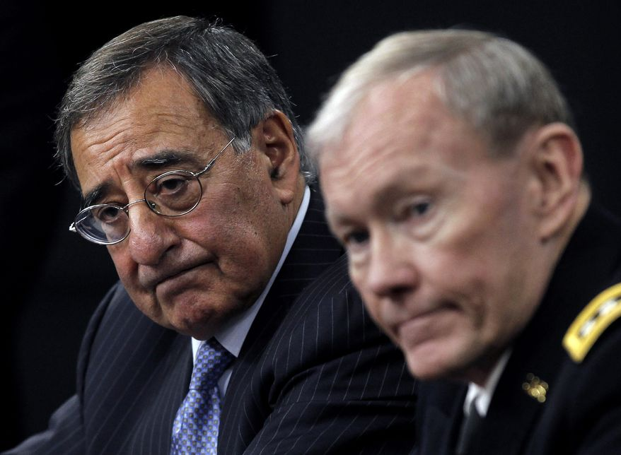 ** FILE ** Defense Secretary Leon E. Panetta and Army Gen. Martin Dempsey, chairman of the Joint Chiefs of Staff, outline the main areas of proposed defense spending cuts during a Jan. 26, 2012, news conference at the Pentagon. (Associated Press)