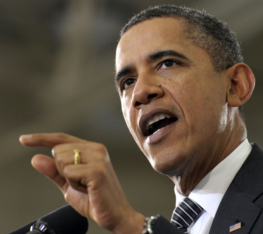 """President Barack Obama speaks about the """"Community College to Career Fund"""" and his 2013 budget, Monday, Feb. 13, 2012, at Northern Virginia Community College in Annandale, Va. (AP Photo/Susan Walsh)"""