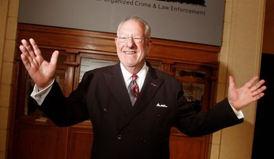 Oscar Goodman, a former mob lawyer and three-time mayor of Las Vegas, stands outside the new museum, housed in a former federal courthouse where one of 14 Senate hearings on organized crime was held in the early 1950s. (Associated Press)