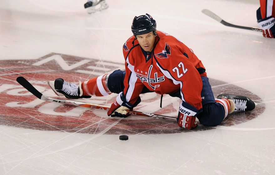 Washington Capitals' Mike Knuble had an assist on the game-tying goal in the Caps' 2-1 win over the Florida Panthers. (AP Photo/Nick Wass)