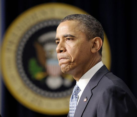 ** FILE ** President Obama speaks at the Old Executive Office Building on Tuesday to urge Congress to extend the payroll-tax cut and unemployment insurance through the end of the year. (Associated Press)