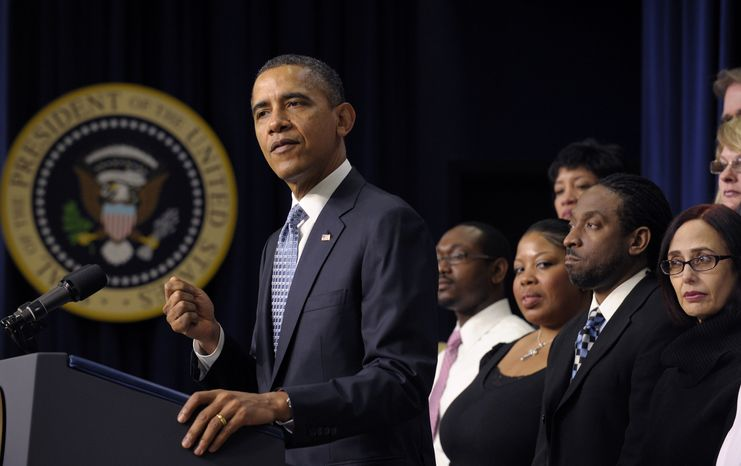President Obama pushes Congress to extend the payroll-tax cut and unemployment insurance through the end of the year during a speech on Tuesday, Feb. 14, 2012, in Washington. (AP Photo/Susan Walsh)
