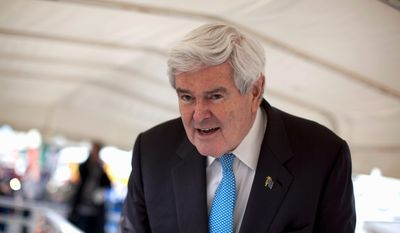 Republican presidential candidate, former House Speaker Newt Gingrich pauses during a campaign stop at the Tulare World Ag Expo Tuesday, Feb. 14, 2012, in Tulare, Calif. (AP Photo/Evan Vucci)