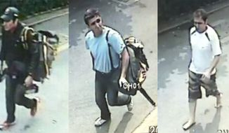 In this combination of images made from surveillance video on Tuesday, Feb. 14, 2012, three Iranian bomb-plot suspects, identified by police as (from left) Saeid Moradi, Mohammad Kharzei and Masoud Sedaghatzadeh, walk down the middle of a residential street in Bangkok after a blast at an explosives-filled house where the three were staying. (AP Photo/National Thai Police)