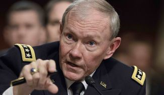 **FILE** U.S. Army Gen. Martin E. Dempsey, chairman of the Joint Chiefs of Staff, testifies Feb. 14, 2012, on Capitol Hill in Washington before the Senate Armed Services Committee to outline the Pentagon's budget. (Associated Press)