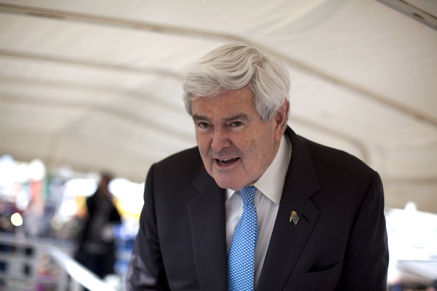 Former House Speaker Newt Gingrich pauses during a campaign stop at the Tulare World Ag Expo on Tuesday, Feb. 14, 2012, in Tulare, Calif., as he bids for the Republican presidential nomination. (AP Photo/Evan Vucci)