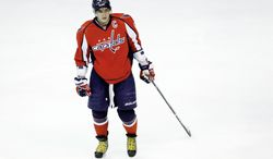 """Capitals captain Alex Ovechkin says it's """"not about jokes"""" anymore for Washington, which is on the outside looking in at the Eastern Conference playoff field. The Capitals begin a four-game road trip Friday at the Florida Panthers. (Associated Press)"""