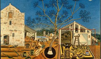 """Miro's """"La Ferme"""" (""""The Farm""""), crowded with nostalgic images of the area, shows the house from the side. Ernest Hemingway bought it, and his widow donated it to the U.S. National Gallery of Art. (Photo provided by The National Gallery of Art)"""