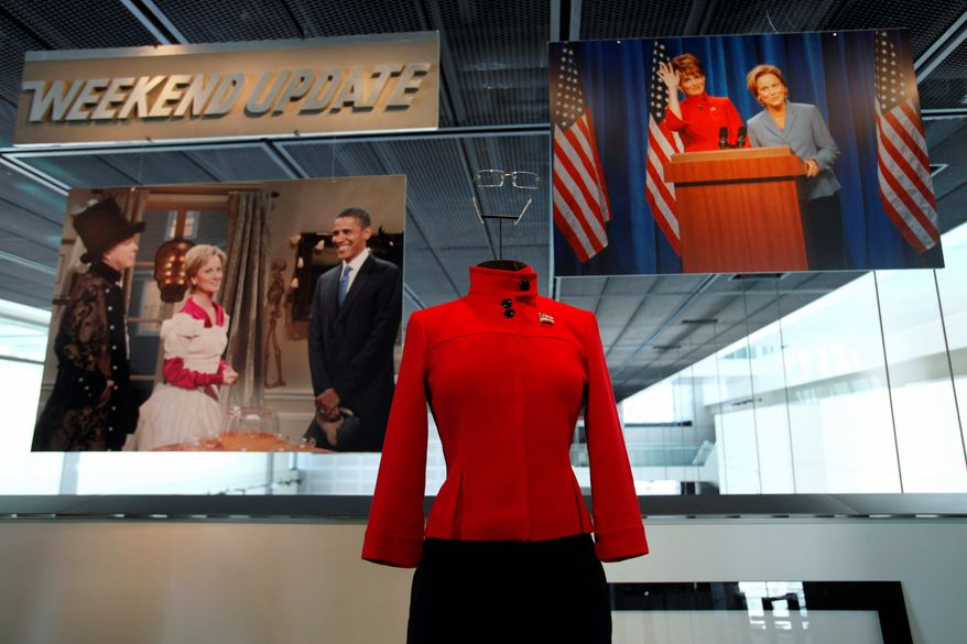 "Tina Fey's costume to portray Sarah Palin on ""Saturday Night Live,"" is part of the exhibit, ""Every Four Years: Presidential Campaigns and the Press,"" at the Newseum in Washington. (AP Photo/Jacquelyn Martin)"