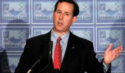 Former Sen. Rick Santorum of Pennsylvania, a Republican presidential candidate, speaks during an Economic Club of Detroit luncheon on the campaign trail on Thursday, Feb. 16, 2011. (Associated Press)