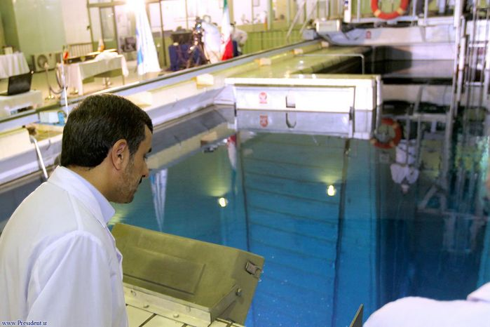 Iranian President Mahmoud Ahmadinejad tours Tehran's research reactor center on Feb. 15, 2012. (Associated Press/Iranian President's Office)