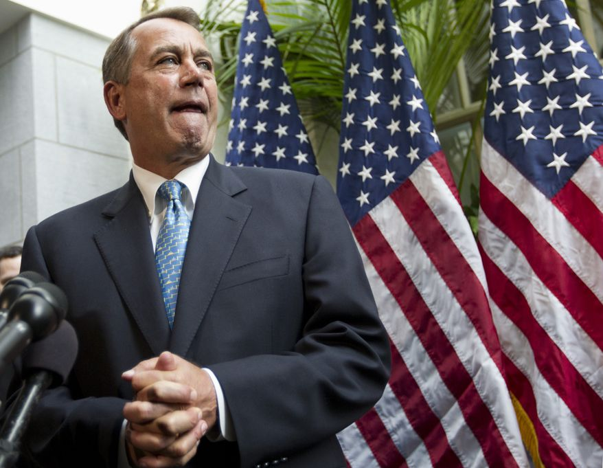 House Speaker John A. Boehner, Ohio Republican, talks about an accord on the payroll-tax cut on Wednesday, Feb. 15, 2012, during a news conference on Capitol Hill in Washington. (AP Photo/J. Scott Applewhite)