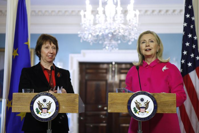 Secretary of State Hillary Rodham Clinton and EU High Representative Catherine Ashton take part in a news conference Feb. 17, 2012, at the State Department in Washington. (Associated Press)