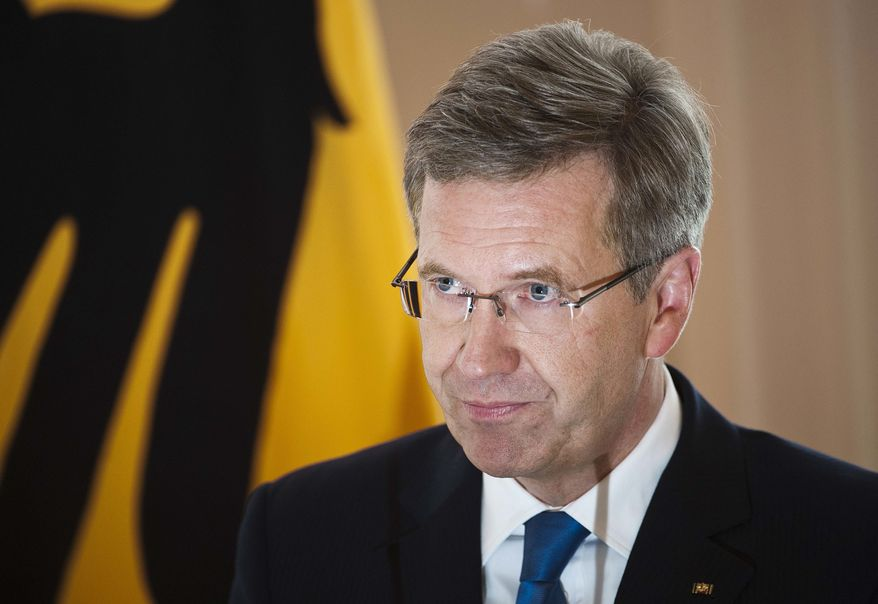 German President Christian Wulff announces his resignation at the Bellevue Palace in Berlin on Friday, Feb. 17, 2012. (AP Photo/dapd, Timur Emek)