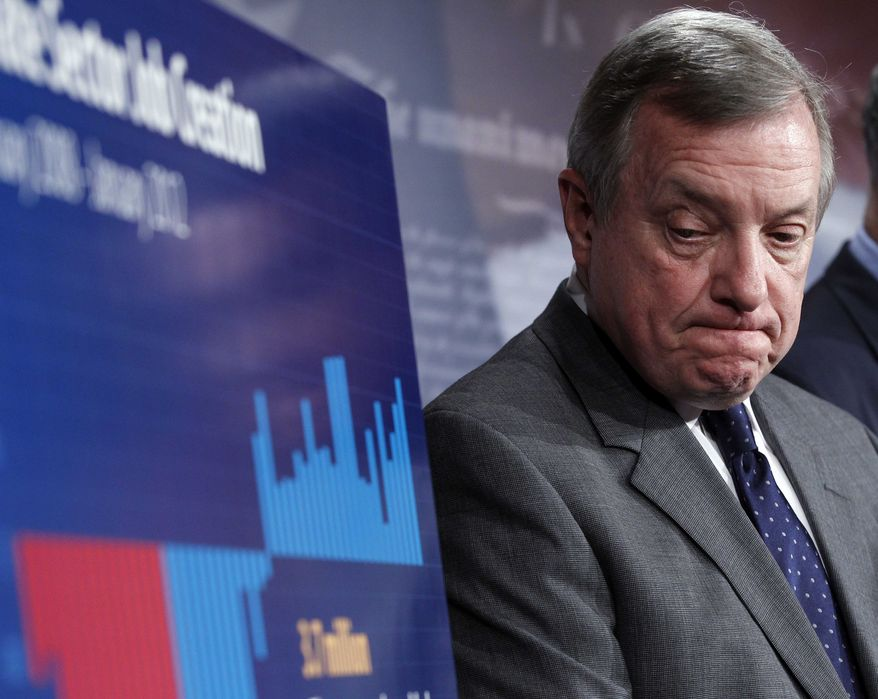 Senate Majority Whip Richard Durbin listens during a news conference about a compromise deal on the payroll tax cut, Thursday, Feb. 16, 2012, on Capitol Hill in Washington. (AP Photo/Pablo Martinez Monsivais)