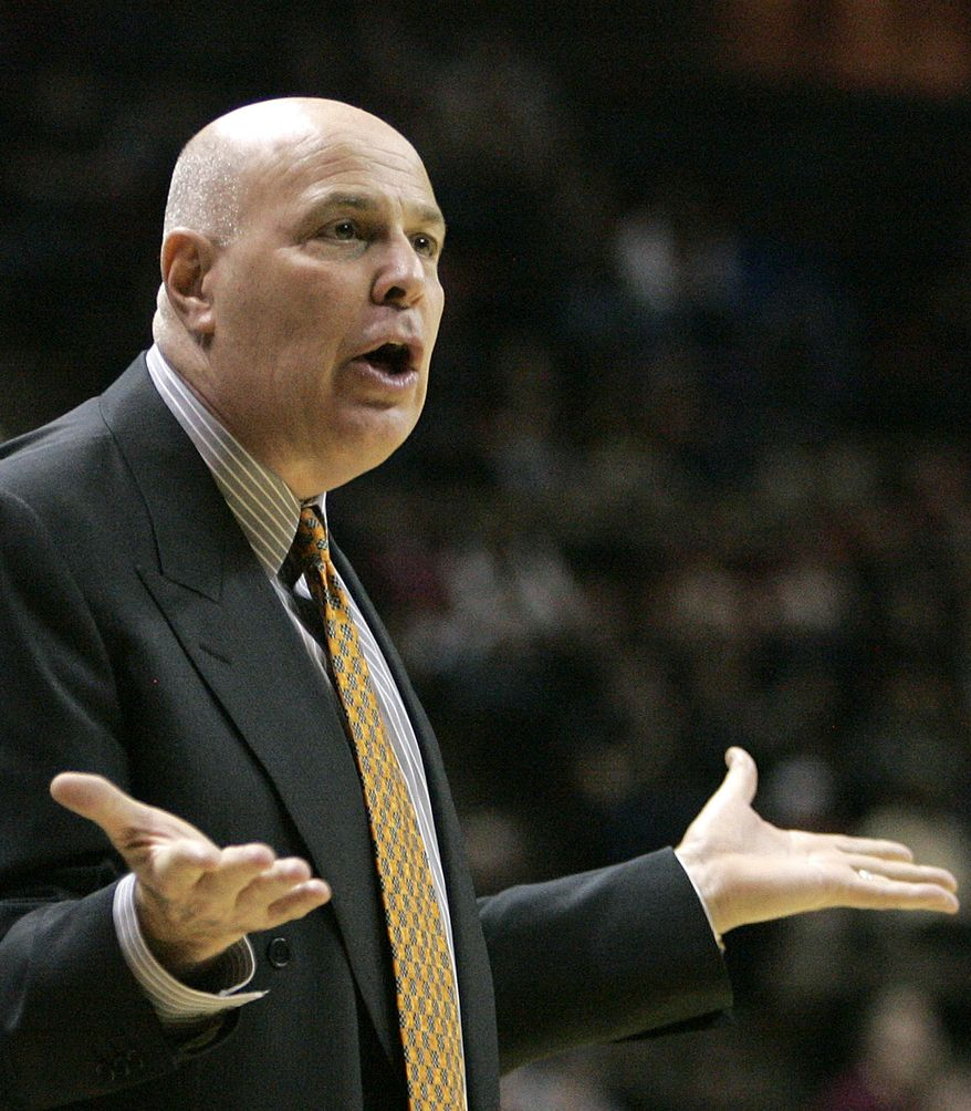 Virginia Tech head coach Seth Greenberg reacts during the first half against Florida State on Thursday, Feb. 16, 2012 in Tallahassee, Fla. (AP Photo/Steve Cannon)