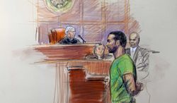 An artist rendering shows Amine El Khalifi before U.S. District Judge T. Rawles Jones Jr. in federal court in Alexandria, Va., on Feb. 17, 2012. (Associated Press)