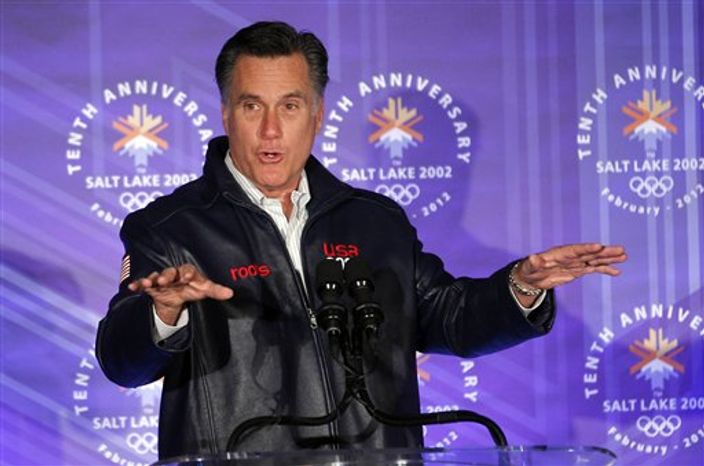 Republican presidential candidate, former Massachusetts Gov. Mitt Romney, speaks to a group of former Salt Lake City Olympic committee members, at an event marking the tenth anniversary of the games, in Salt Lake City, Utah, Saturday, Feb. 18, 2012. (AP Photo/Gerald Herbert)