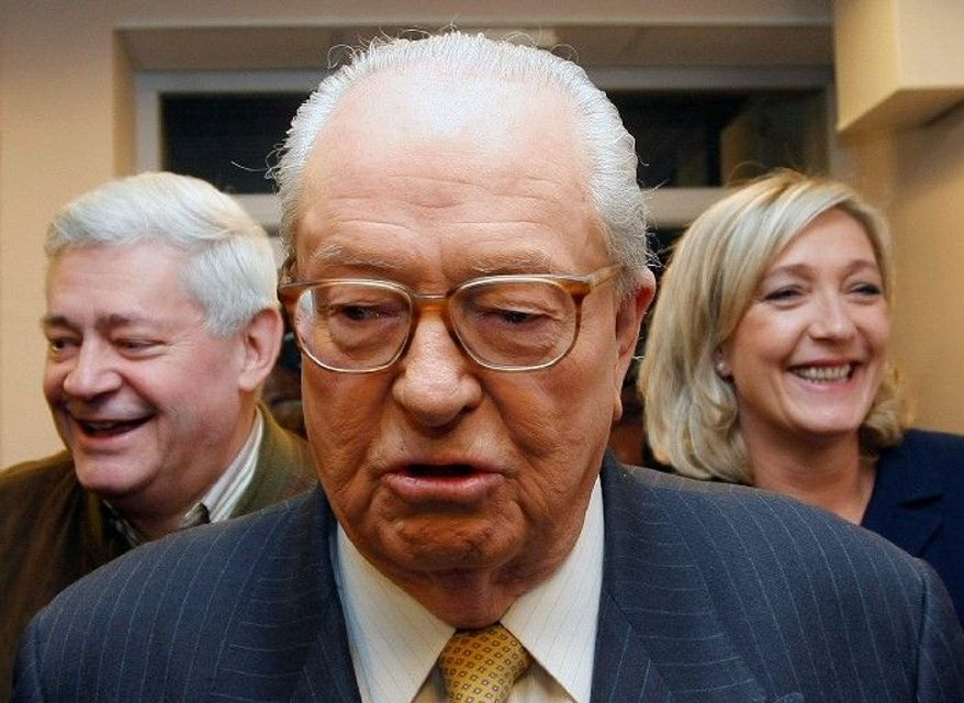 "Jean-Marie Le Pen used his oratory skills to denounce the ""decadence"" of French society, promote an anti-immigration ""French first"" agenda and try to cast doubt upon the Holocaust. (Associated Press)"